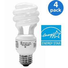GE Energy Smart CFL Light Bulbs: 13 Watt (60W Equivalent) ~ Love the low wattage and it lasts 8 times longer than regular bulbs. Plus, only $5.44 for a 4 pack (remember when CFL's cost a lot more) #GElighting