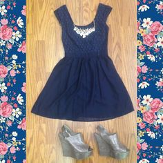 Navy dress with wedges and a statement necklace