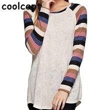 Do sexo feminino casual camisetas patchwork várias cores manga comprida camisas gola redonda mulheres básico confortável lazer estudantes clothing(China (Mainland))