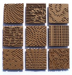 Cardboard relief sculpture focused on pattern and texture. Middle or high school art project. Cardboard Sculpture, Cardboard Crafts, Paper Crafts, Cardboard Painting, Cardboard Design, Cardboard Relief, Middle School Art, Elements Of Art, Kirigami