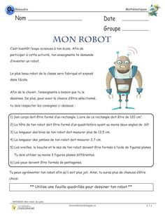 Mon robot- 3e cycle Ce document présente une situation-problème qui travaillent… Math 2, 5th Grade Math, Fun Math, Math Activities, Teaching Science, Science For Kids, Teaching Kids, Language Lessons, Speech And Language