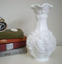 LARGE Ornate White Milk Glass Vase Raised Pattern of by chloeswirl