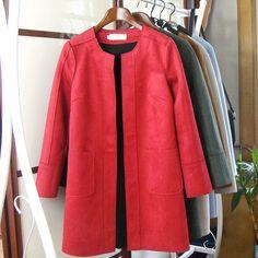 2015 início da primavera novo complexo de lazer e blusas casaco longo de camurça em Sobretudos de Moda e Acessórios no AliExpress.com   Alibaba Group