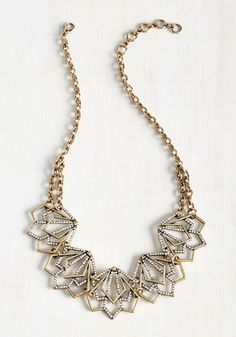 Smart Deco Necklace. When an accessorizing crisis occurs, your sartorial instincts lead you straight to this deep gold necklace! #wedding #bride #modcloth