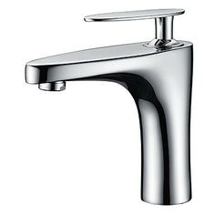 Chrome Finish Solid Brass Contemporary Centerset Bathroom Sink Tap