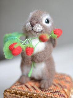 felt toy Needle felted toy rabbit with a sprig of strawberries, wool felt sculpture, realistic animal doll, felting animal, Easter decor Needle felted toy rabbit with a sprig of strawberries wool The Animals, Felt Animals, Baby Animals, Sleeping Fox, Chat Crochet, Crochet Dolls, Needle Felting Tutorials, Felt Bunny, Felt Mouse