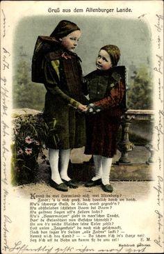Ansichtskarte / Postkarte Gruß aus dem Altenburger Lande, Thüringer Mädchen in Trachten #Altenburg
