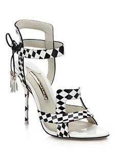 Sophia Webster - Poppy Checker-Print Leather Sandals