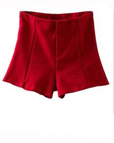 Red High Waist Tailored Shorts SH0230002-1