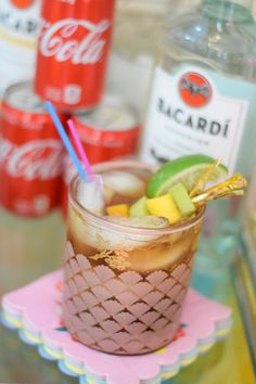 Msg 4 21+ #ad Build-Your-Own Rum & Coke Bar with Bacardi and Coke Mini Cans: with creative tips for styling your bar cart and serving up custom Rum & Coke cocktails. #BacardiandCoke #CollectiveBias #rumandcoke #barcart