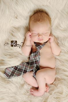 Newborn with a tie