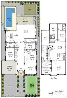Family House Plans, New House Plans, Dream House Plans, House Floor Plans, Home Design Floor Plans, Dream Home Design, Double Storey House Plans, House Plans Australia, Pool House Designs