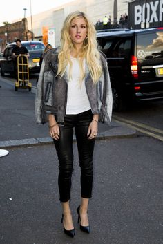 Ellie Goulding in leather trousers and a faded jacket. #London
