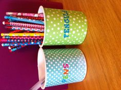 Pencil cups made out of frosting containers wrapped with scrapbook paper. I'm trying to up-cycle containers and boxes from camp for my classroom. Classroom Organization, Classroom Ideas, Organizing, Reuse, Upcycle, Planet Crafts, Pencil Cup, Paper Punch, Milk Jug
