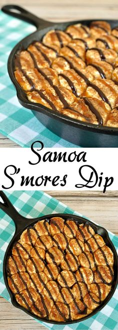 Samoa meets S'mores in a 4 ingredient Samoa S'mores Dip recipe inspired by the girl scout cookies. Super easy and loaded with chocolate, caramel, and coconut.