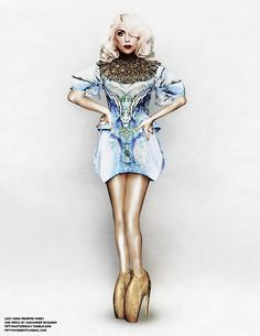 Lady Gaga fashion. Short dress, high heels.