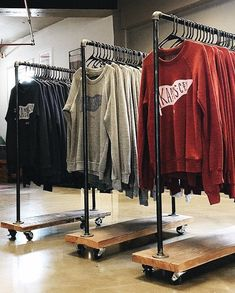 Rustic Industrial Reclaimed Wood Retail Rolling Garment Rack- Standard Size This order garment rack Boutique Interior, Clothing Store Interior, Clothing Store Displays, Clothing Store Design, Boutique Decor, Shop Interior Design, Boutique Clothing, Boutique Ideas, Boutique Design