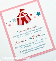 SALE Girls Circus or Carnival Handmade by peasandthankyous on Etsy Second Birthday Ideas, 2nd Birthday, Birthday Parties, Birthday Cards, Carnival Invitations, Diy Invitations, Invitation Cards, Vintage Circus Party, Die Cut