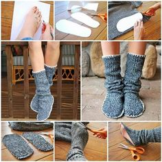 How to Upcycle Old Sweater into Slipper Boots | iCreativeIdeas.com LIKE Us on Facebook ==> https://www.facebook.com/icreativeideas