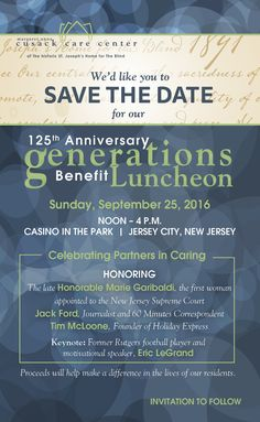 Hello Friends! This September, we're celebrating Partners in Caring at our 125th Anniversary Generations Benefit Luncheon and hope to see there! For more information visit our website at cusackcarecenter.org or contact the Development Office at 201.653.8300. Proceeds will benefit programs and services for the residents at Cusack Care Center!