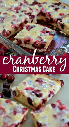 Cranberry Christmas Cake Recipe.  Cool in pan.  Can add butter to the drizzle and warm it before drizzling and serving.