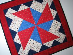Quilted Table Topper--Americana, Memorial Day, July 4th, Red/White/Blue/Navy by VillageQuilts on Etsy