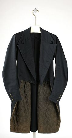 Circa 1830 Tail coat, American, wool, silk. Length at CB: 41 in. (104.1 cm).  Metropolitan Museum of Art.