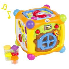 Talking Activity Cube Box Play Center with Lights, Music, Many Functions & Skills - Great Gift