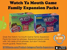 Grab the Watch Ya Mouth Game Family Expansion Packs for more fun phrases. Expansion packs come with 143 cards of fun phrases, but don't include mouth guards. Watch Ya Mouth Game, Mouth Guard, Family Games, The Expanse, Pop Tarts, Snacks, Appetizers, Treats