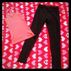 PANTS AND TANK BUNDLE Cute orange tank with stretchy black pants. The tank is a SMALL and the pants too. The pants have back pockets and have been used a lot. The tank too cute deal on both. Pants Skinny