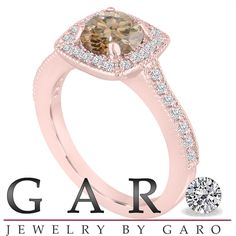 1.29 Carat Champagne Brown Diamond Engagement Ring, Wedding Ring 14K Rose Gold Halo Pave Certified Handmade