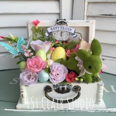Shabby chic Small Wooden Box Easter Bunny Floral Arrangement Decor