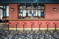 Designed by Framework Studio, Waldeck bar in Amsterdam features many of the classic hospitality materials and colours applied in an unexpected way. Bar Lounge, Cafe Restaurant, Restaurant Design, Restaurant Ideas, Club Bar, Architecture Restaurant, Tinted Mirror, Classic Bar, Wallpaper Magazine
