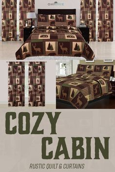 Beatrice Cozy Cabin Full/Queen Quilt 3 Piece Set Rustic Lodge Deer and Bear Coverlet Bedspread Cabin Curtains, Rustic Curtains, Window Curtains, Luxury Duvet Covers, Luxury Bedding Sets, Rustic Bedding Sets, Bedding Decor, Rustic Quilts, Matching Bedding And Curtains