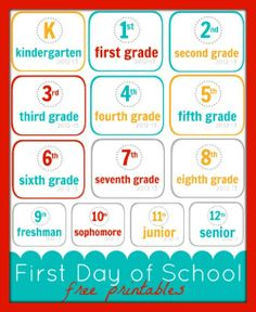 First Day of School Free Printables: K-12 signs with 2012-2013 in the corner.  Boys hold up in first day of school photo.