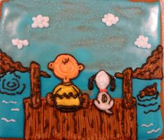Gingerbread cookie - Charlie Brown and Snoopy on a dock.