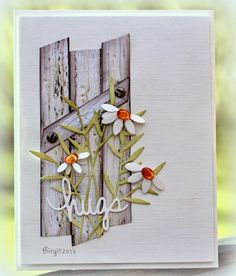 Rapport från ett skrivbord: CAS-ual Fridays //the fence Cool Cards, Diy Cards, Pretty Cards, Sympathy Cards, Card Tags, Flower Cards, Creative Cards, Greeting Cards Handmade, Scrapbook Cards