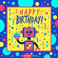 Colorful birthday card with robots Free Vector Happy Birthday Kids, Colorful Birthday, Birthday Wishes, Birthday Cards, Circle Cake, Robotics Engineering, Cake Name, Anniversary Photos, Birthday Photos