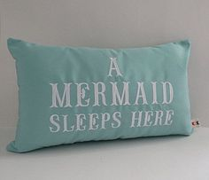 Sunbrella 12 x 20 Pillow Cover, Beach Decor, Decorative Pillow, Indoor/Outdoor Pillow, A Mermaid Sleeps Here Custom Embroidered Pillow Cover