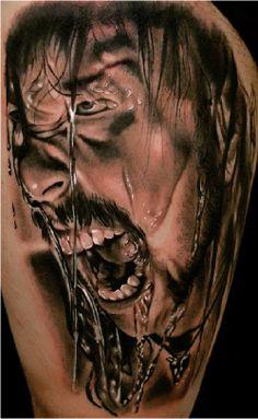 Realistic black and grey James Hetfield tattoo by Andrea Afferni  http://perfecttattooartists.com