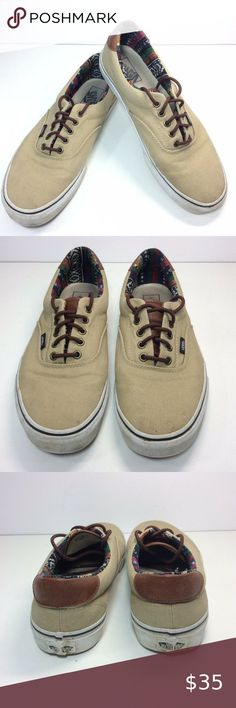 """Sizes 11,12,2 Van/'s /""""Off the Wall/""""  Youths Tan//Orange Canvas Lace Up Sneakers"""