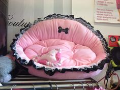 Tallulah Pink girl puppy bed with black trim, £65.00