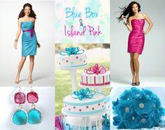 Bright and cheerful, fuchsia and aqua make a great combination! #fuschia #aqua # islandpink #bluebox #alfredangelo #ssww #wedding #feathers