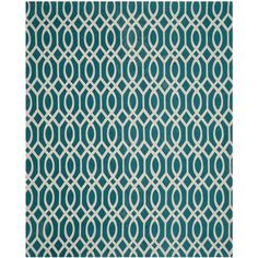 Safavieh Hand-loomed Cedar Brook Teal/ Ivory Cotton Rug (7'3 x 9'3) | Overstock.com Shopping - The Best Deals on 7x9 - 10x14 Rugs $194.90