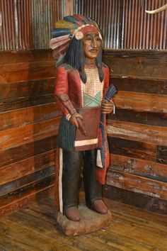 Authentic Cigar Store Indian - hand carved and painted. This unique rustic piece of Americana is an ideal showpiece for lodge, store, or home. Native American Crafts, Native American History, American Indians, Cigar Store Indian, Cigar Shops, Cigar Art, Native Indian, Cigars, Nativity