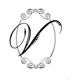 Script Monogram Letter V Embroidery Design.