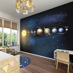 Large Children's Planets Photo Wallpaper Wall Mural Children's Bedroom Decor, Boy's Bedroom - Space Planets Wallpaper by PurpleEyeDesign on Etsy