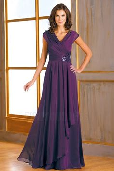A-Line/Princess V-neck Floor-length Mother Of The Bride Dress With Appliques Lace Ruching