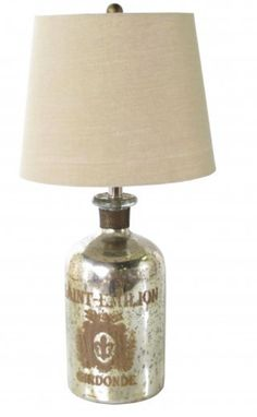 Mercury glass bottle lamp with print that reads St. Emilion Girdonde, which is a region in France known for its vineyards. Size: Tall and in Diameter tall x diameter). Teal Chair, St Emilion, Large Lamps, Mason Jar Lamp, Mercury Glass, Lamp Bases, Glass Bottles, Vintage Furniture, Color Schemes