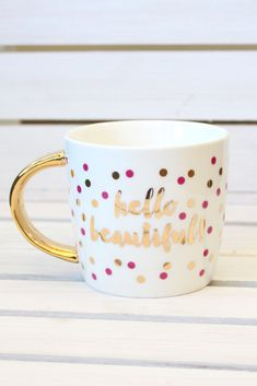 Hello Beautiful Ceramic Mug {14oz} - The Fair Lady Boutique